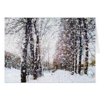 Cartão do Feliz Natal da paisagem da neve