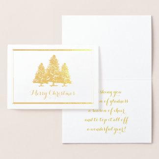 Cartão Metalizado Cartão do Feliz Natal das árvores de Natal da