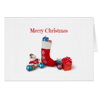 Cartão do Feliz Natal do boneco de neve