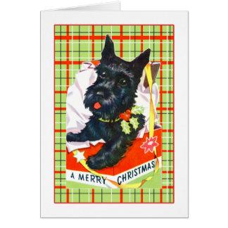 Cartão Cartão do Feliz Natal do cão do Scottie com xadrez