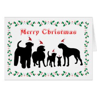 Cartão do Feliz Natal do grupo da raça dos cães
