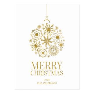Cartão do Feliz Natal do ornamento do floco de