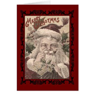Cartão do Feliz Natal do papai noel do vintage