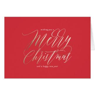 Cartão do Feliz Natal do Shimmer do ouro