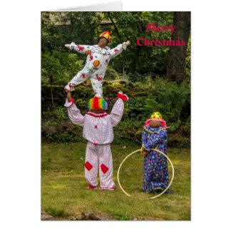 Cartão do Feliz Natal dos espantalhos do palhaço