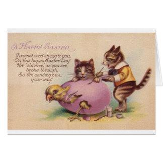 Cartão do felz pascoa do gato do vintage