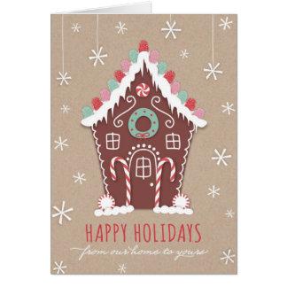 Cartão do feriado da casa de pão-de-espécie