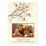 Cartão do feriado da família de pássaros do invern convite personalizados