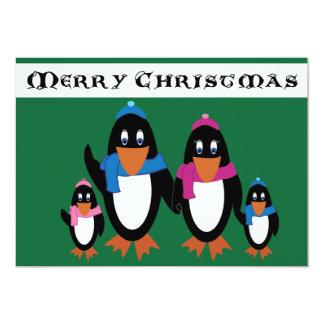 Cartão do feriado da família do pinguim - resíduo convites personalizados