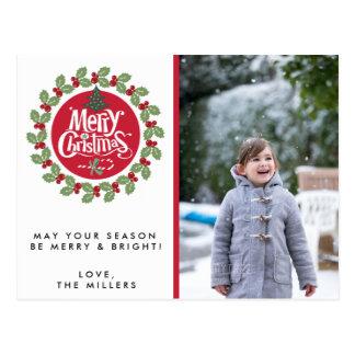Cartão do feriado da foto da grinalda do Feliz