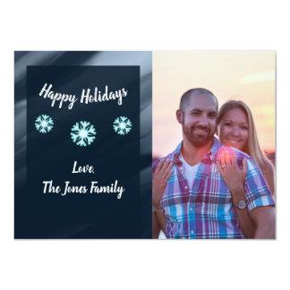 Cartão do feriado da foto de família - flocos de