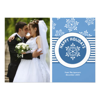 Cartão do feriado da foto do medalhão do White Convites Personalizado