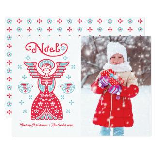 Cartão do feriado da foto do Natal de Noel do anjo