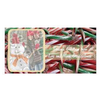 Cartão do feriado da foto dos bastões de doces cartão com foto