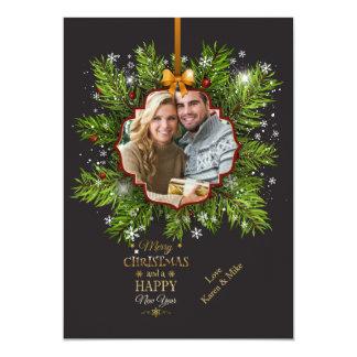 Cartão do feriado da foto dos enfeites de natal convite 12.7 x 17.78cm