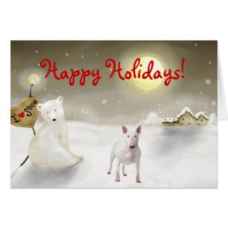 Cartão do feriado de bull terrier