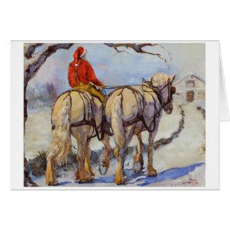 Cartão do feriado do cavalo de esboço