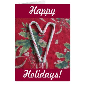 Cartão do feriado do coração do bastão de doces