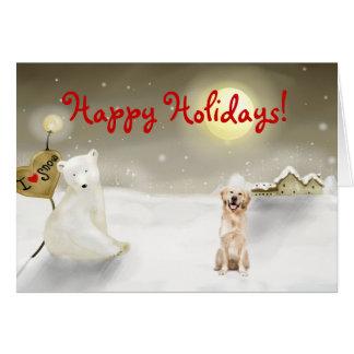 Cartão do feriado do golden retriever