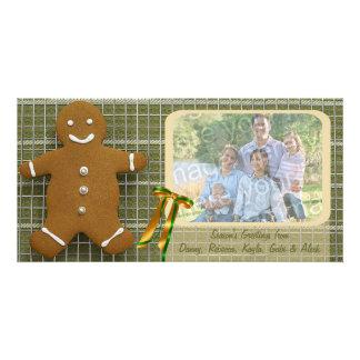 Cartão do feriado do homem de pão-de-espécie e da  cartão com foto