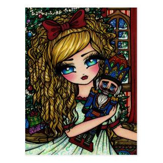 Cartão do feriado do Natal da menina do balé do