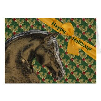 Cartão do feriado do Natal do cavalo e do azevinho
