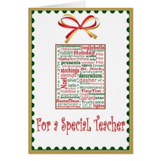 Cartão do feriado do Natal para o professor