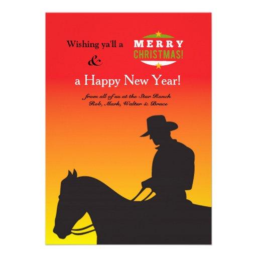 Cartão do feriado do vaqueiro do Natal Convite Personalizado