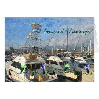 Cartão do feriado dos barcos de pesca desportiva