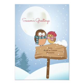 Cartão do feriado dos Lovebirds do inverno