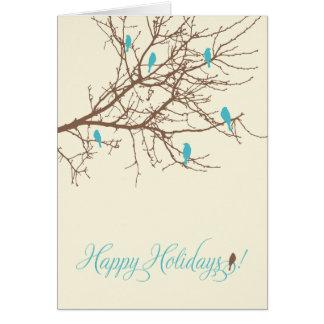 Cartão do feriado dos pássaros do inverno