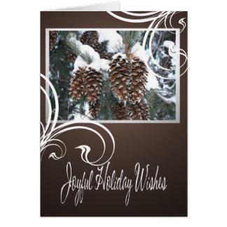 Cartão do feriado dos pinhos do inverno