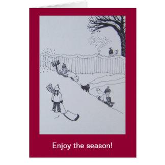 Cartão do feriado (esportes de inverno da