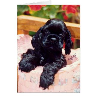 Cartão do filhote de cachorro de cocker spaniel