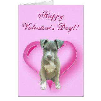 Cartão do filhote de cachorro de Pitbull do feliz