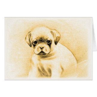 Cartão do filhote de cachorro do pugilista