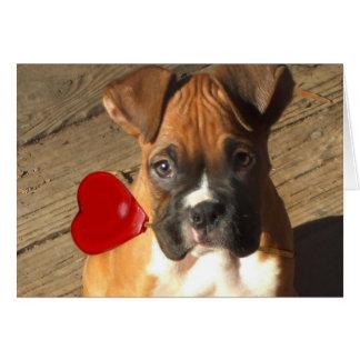 Cartão do filhote de cachorro do pugilista dos