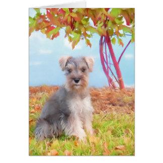 Cartão do filhote de cachorro do Schnauzer