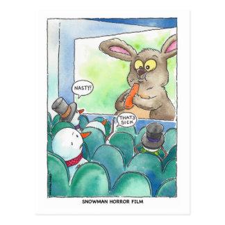 Cartão do filme de terror do boneco de neve