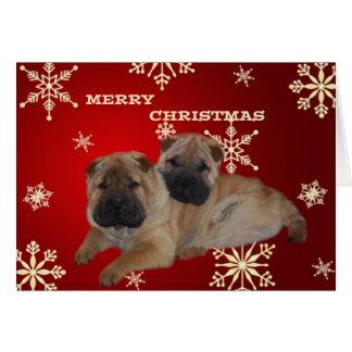 Cartão do floco de neve dos filhotes de cachorro