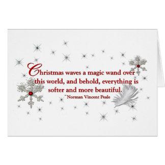 Cartão do floco de neve e de Natal da pena