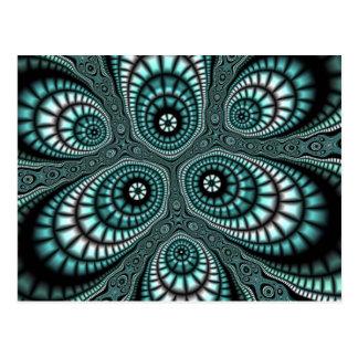 Cartão do Fractal do mosaico da cerceta Cartão Postal