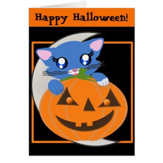 Cartão do gatinho de Toon da lua da abóbora de