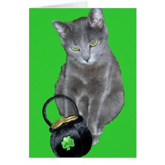 Cartão do gatinho do dia de St Patrick