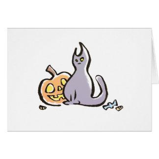 Cartão do gato & da Jack-O-Lanterna {o Dia das