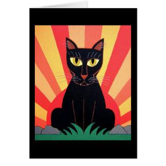 Cartão do gato de pantera preta