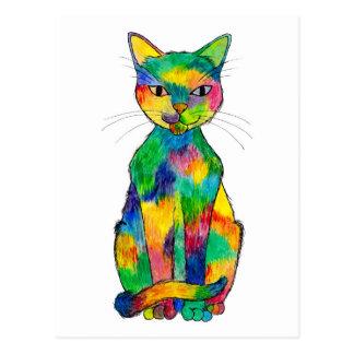 Cartão do gato do arco-íris