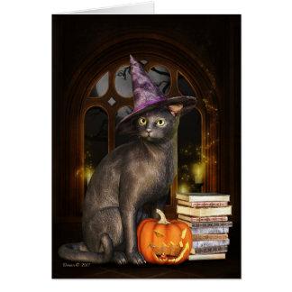 Cartão do gato do gatinho da bruxa de Samhain