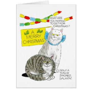 Cartão do gato do Natal - salmão