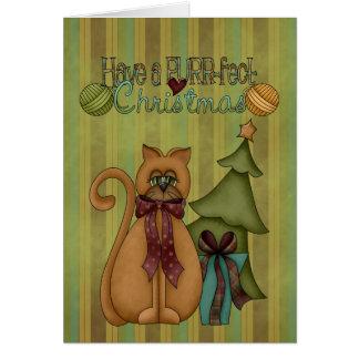 Cartão do gato do purr-fect da coleção do Natal